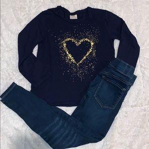 Zara girl shirt with jeggings